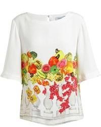 Белая шелковая блуза с коротким рукавом с принтом