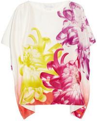 Белая шелковая блуза с коротким рукавом с принтом от Diane von Furstenberg