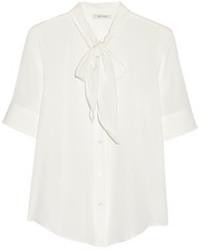 Белая шелковая блуза с коротким рукавом от Marc Jacobs