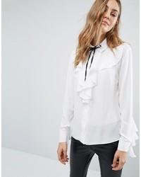 Белая шелковая блузка с длинным рукавом с рюшами от Boohoo
