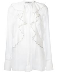 Белая шелковая блузка с длинным рукавом с рюшами от Givenchy
