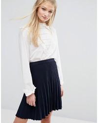 Белая шелковая блузка с длинным рукавом с рюшами от Vila
