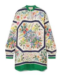 Белая шелковая блузка с длинным рукавом с цветочным принтом от Gucci