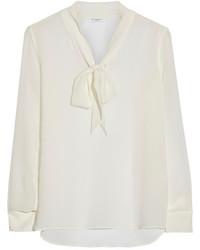 Белая шелковая блузка с длинным рукавом от Equipment