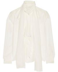Белая шелковая блузка с длинным рукавом от Faith Connexion
