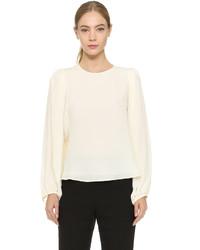 Белая шелковая блузка с длинным рукавом от Giambattista Valli