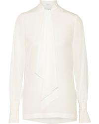 Белая шелковая блузка с длинным рукавом от Givenchy