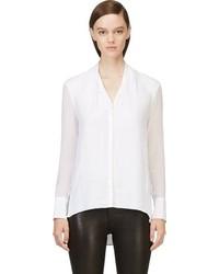 Белая шелковая блузка с длинным рукавом от Helmut Lang