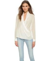 Белая шелковая блузка с длинным рукавом от Just Female