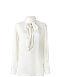 Белая шелковая блузка с длинным рукавом от Lanvin