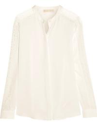 Белая шелковая блузка с длинным рукавом от MICHAEL Michael Kors