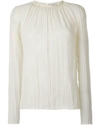 Белая шелковая блузка с длинным рукавом от Nina Ricci