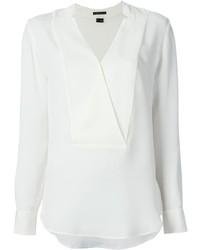 Белая шелковая блузка с длинным рукавом от Theory