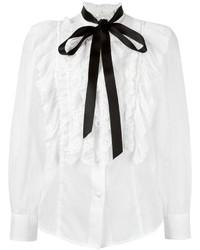 Белая шелковая блузка с рюшами от Marc Jacobs