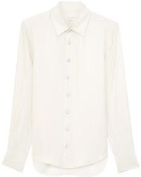 Белая шелковая классическая рубашка