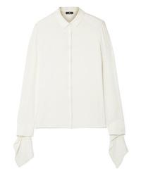 Женская белая шелковая классическая рубашка от Akris