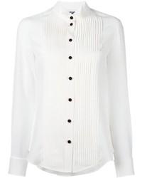 Женская белая шелковая классическая рубашка от Moschino