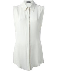 b3d38ec2f30 Купить женскую белую шелковую рубашку без рукавов - модные модели рубашек  без рукавов