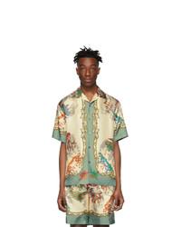 Мужская белая шелковая рубашка с коротким рукавом с принтом от Gucci