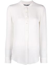 Женская белая шелковая футболка на пуговицах от Raquel Allegra