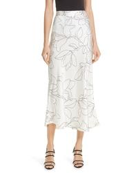 Белая шелковая юбка-миди