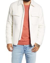 Белая шерстяная куртка харрингтон
