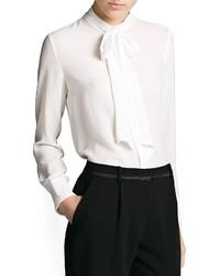 Белая шифоновая блуза на пуговицах