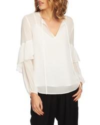 Белая шифоновая блузка с длинным рукавом
