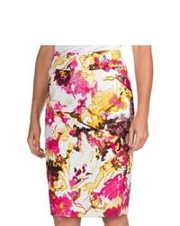 Белая юбка-карандаш с цветочным принтом