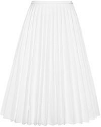 Белая юбка-миди со складками
