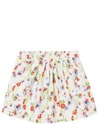 Белая юбка с цветочным принтом