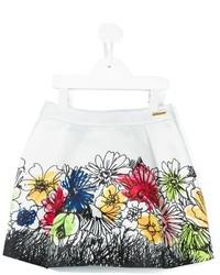 Детская белая юбка с цветочным принтом для девочке