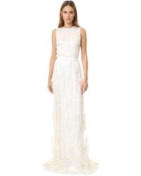 Женское белое вечернее платье с пайетками от Rodarte