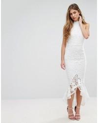 Женское белое кружевное платье-миди от Missguided