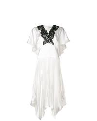 Белое кружевное платье-миди от Self-Portrait