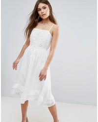 Женское белое кружевное платье-миди от Vero Moda
