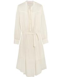 Белое льняное платье-миди