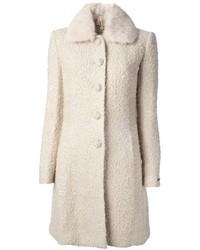 Белое пальто букле