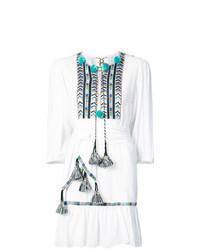 Белое платье-крестьянка с вышивкой
