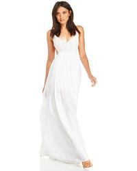Белое платье-макси крючком