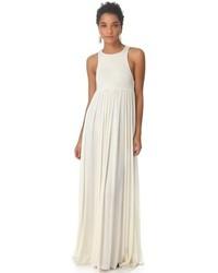 Белое платье-макси со складками