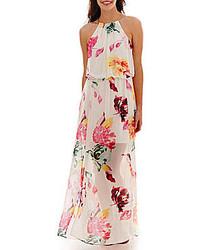 Белое платье-макси с цветочным принтом