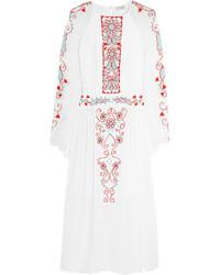 Белое платье-миди с вышивкой