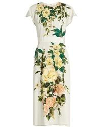 Белое платье-миди с цветочным принтом