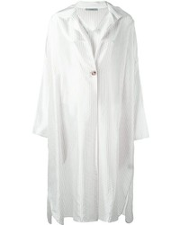 Женское белое платье-рубашка в вертикальную полоску от Dusan