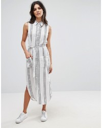 Женское белое платье-рубашка в вертикальную полоску от Glamorous