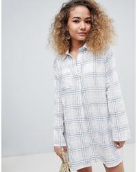 Белое платье-рубашка в шотландскую клетку от En Creme