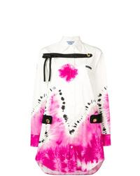 Белое платье-рубашка с принтом тай-дай от Prada