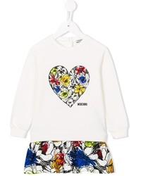 Детское белое платье с цветочным принтом для девочке