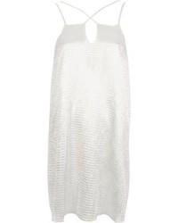 Белое сатиновое платье-комбинация
